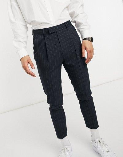 Blu navy uomo Pantaloni affusolati eleganti con righe sottili - ASOS DESIGN - Blu navy