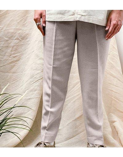 Pietra uomo Pantaloni affusolati in misto lana color pietra - ASOS DESIGN