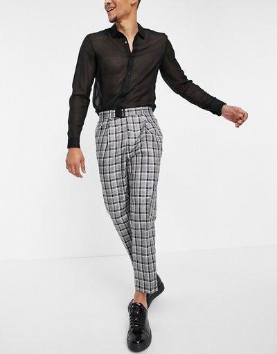 Grigio uomo Pantaloni cargo eleganti e affusolati con tasche, colore grigio a quadri - ASOS DESIGN