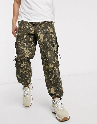 Pantalone Verde uomo Pantaloni cargo mimetici con fondo ampio - ASOS DESIGN - Verde