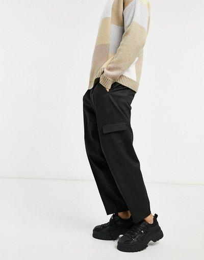Nero uomo Pantaloni cargo oversize eleganti affusolati neri - ASOS DESIGN - Nero