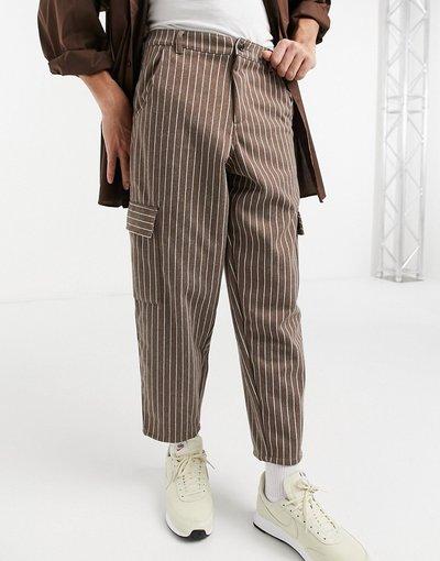 Marrone uomo Pantaloni corti a palloncino marrone rigato - ASOS DESIGN