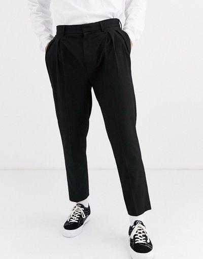 Nero uomo Pantaloni cropped eleganti affusolati con doppia piega neri - ASOS DESIGN - Nero