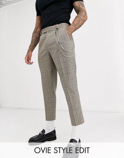 Grigio uomo Pantaloni cropped slim eleganti in misto lana grigio a quadri con catena - ASOS DESIGN