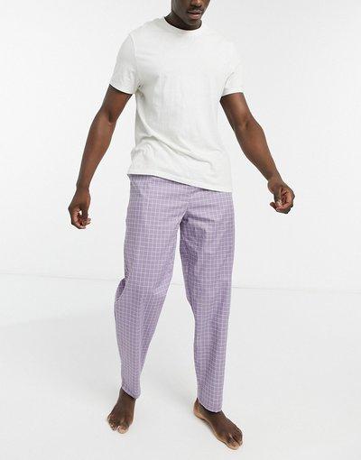Pigiami Viola uomo Pantaloni da casa con stampa a quadretti viola - ASOS DESIGN
