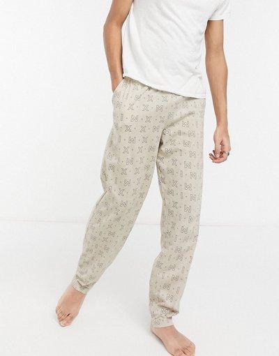 Pigiami Beige uomo Pantaloni da casa con stampa di numeri romani - ASOS DESIGN - Beige