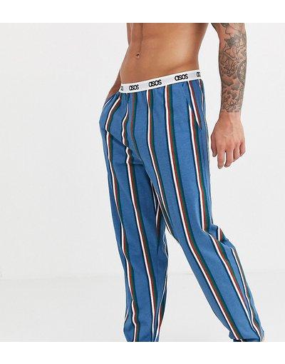 Pigiami Navy uomo Pantaloni del pigiama a righe blu navy kaki bordeaux con logo in vita - ASOS DESIGN