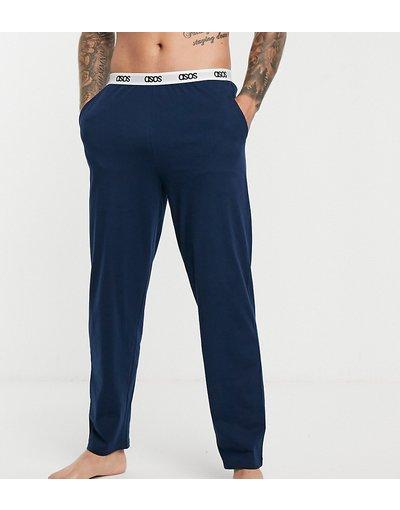 Pigiami Navy uomo Pantaloni del pigiama blu navy con elastico in vita con logo - ASOS DESIGN