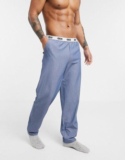 Pigiami Blu uomo Pantaloni del pigiama blu pallido con logo in vita a contrasto - ASOS DESIGN