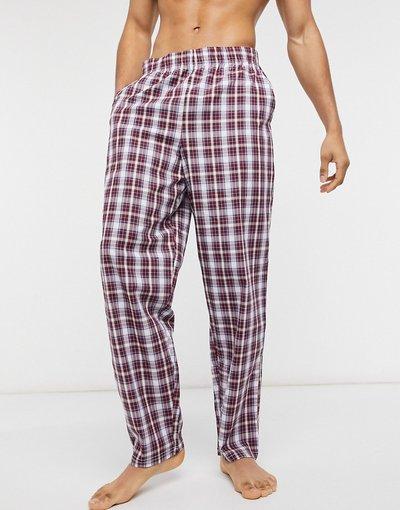 Pigiami Rosso uomo Pantaloni del pigiama bordeaux a quadri - ASOS DESIGN - Rosso
