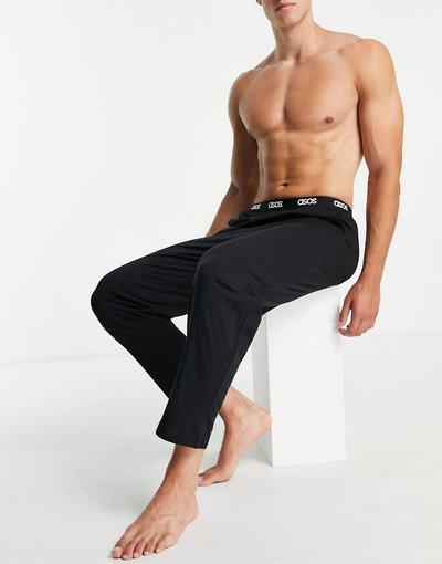 Pigiami Nero uomo Pantaloni del pigiama comodi neri con fascia in vita con logo - ASOS DESIGN - Nero