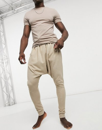 Pigiami Beige uomo Pantaloni del pigiama da casa con cavallo basso beige - ASOS DESIGN