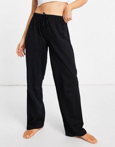 Pigiami Nero donna Pantaloni del pigiama dritti mix&match in jersey neri - ASOS DESIGN - Nero