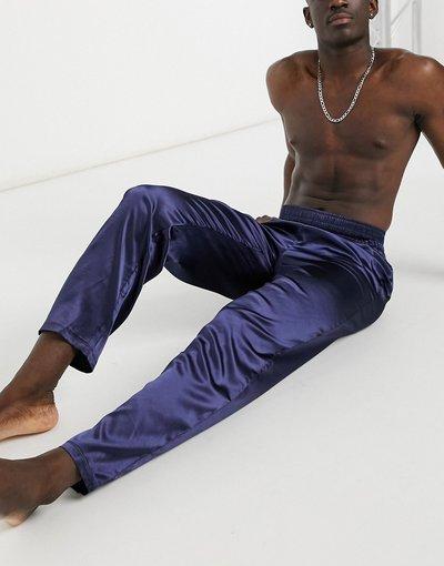 Pigiami Blu navy uomo Pantaloni del pigiama in raso blu navy con elastico in vita alto - ASOS DESIGN
