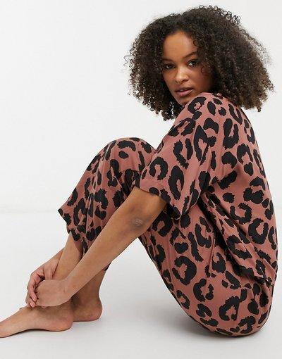 Pigiami Marrone donna Pantaloni del pigiama Mix and Match con fondo ampio e stampa animalier in modal marrone - ASOS DESIGN