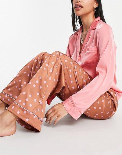 Pigiami Marrone donna Pantaloni del pigiama Mix&Match in raso a pois marrone e lilla - ASOS DESIGN