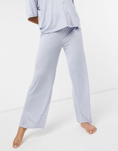Pigiami Blu donna Pantaloni del pigiama Mix&Match morbidi blu con elastico in vita - ASOS DESIGN