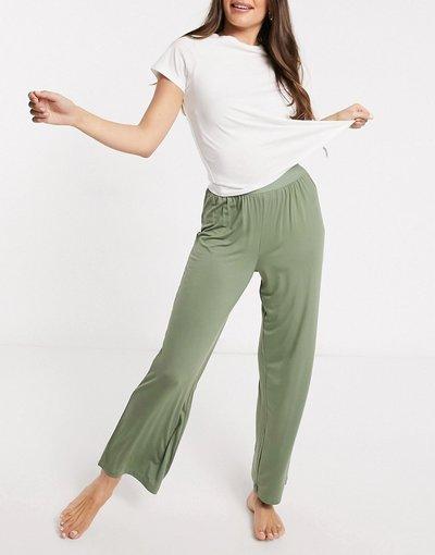 Pigiami Verde donna Pantaloni del pigiama Mix&Match morbidi kaki con elastico in vita - ASOS DESIGN - Verde