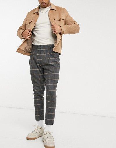 Grigio uomo Pantaloni eleganti affusolati a doppia piega in misto lana a quadri - ASOS DESIGN - Grigio