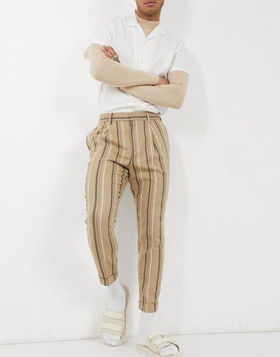 Marrone uomo Pantaloni eleganti affusolati a righe in misto lana con risvolto - ASOS DESIGN - Marrone