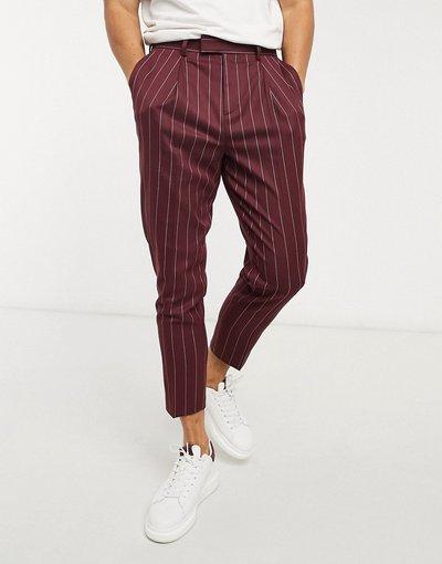 Rosso uomo Pantaloni eleganti affusolati bordeaux a righe - ASOS DESIGN - Rosso