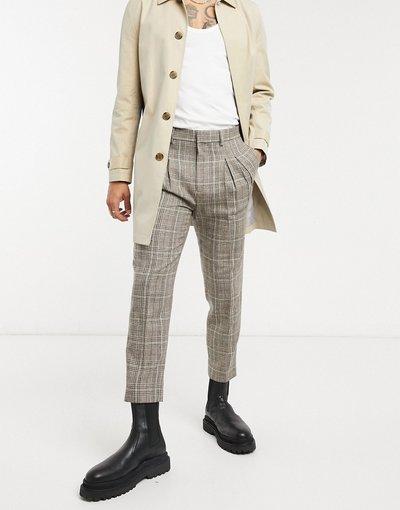 Pietra uomo Pantaloni eleganti affusolati con doppia piega a quadri - ASOS DESIGN - Pietra