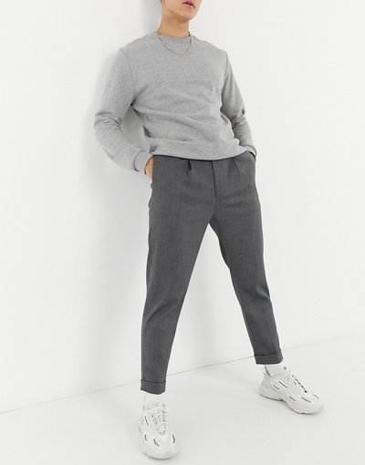 Grigio uomo Pantaloni eleganti affusolati con risvolto grigi - ASOS DESIGN - Grigio