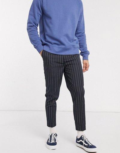 Navy uomo Pantaloni eleganti affusolati gessati blu navy - ASOS DESIGN