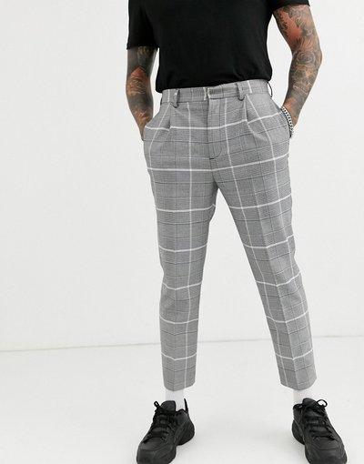 Grigio uomo Pantaloni eleganti affusolati grigi a quadri oversize - ASOS DESIGN - Grigio