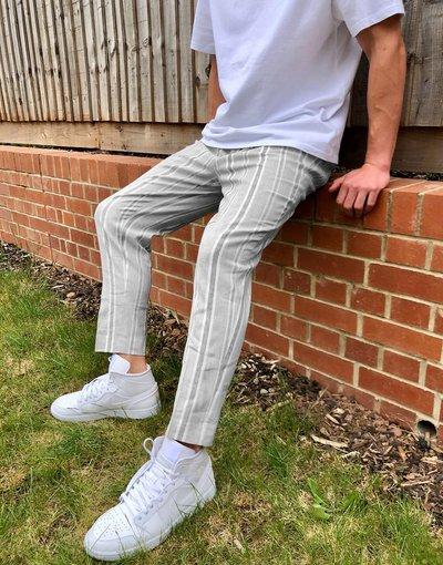 Grigio uomo Pantaloni eleganti affusolati in lino grigi a righe - ASOS DESIGN - Grigio