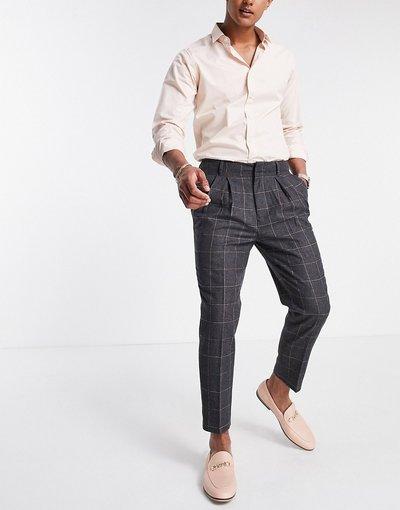 Grigio uomo Pantaloni eleganti affusolati in misto lana a quadri - ASOS DESIGN - Grigio