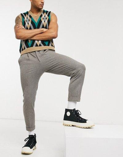 Marrone uomo Pantaloni eleganti affusolati in misto lana con risvolto - ASOS DESIGN - Marrone