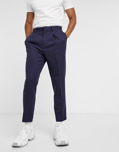 Blu uomo Pantaloni eleganti affusolati in twill di misto lana blu navy e blu - ASOS DESIGN