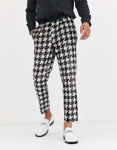 Nero uomo Pantaloni eleganti affusolati pied de poule monocromatici con paillettes - ASOS DESIGN - Nero