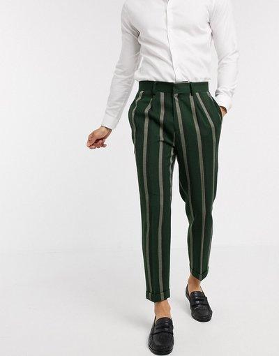 Verde uomo Pantaloni eleganti affusolati verdi a righe - ASOS DESIGN - Verde