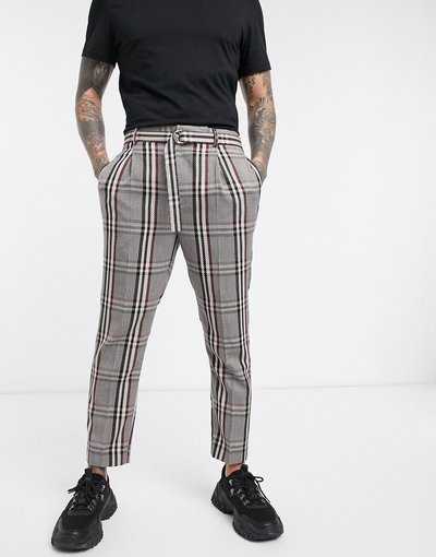 Beige uomo Pantaloni eleganti corti affusolati a quadri oversize con cintura cammello - ASOS DESIGN - Beige
