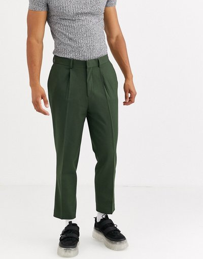 Verde uomo Pantaloni eleganti corti affusolati con pieghe verde edera - ASOS DESIGN