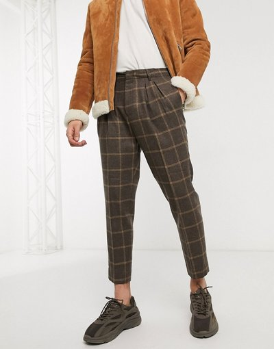 Marrone uomo Pantaloni eleganti corti affusolati marroni a quadri in misto lana - ASOS DESIGN - Marrone