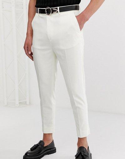 Bianco uomo Pantaloni eleganti cropped bianco sporco affusolati - ASOS DESIGN