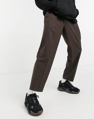 Marrone uomo Pantaloni eleganti e affusolati oversize in flanella marrone - ASOS DESIGN