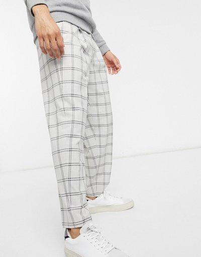 Grigio uomo Pantaloni eleganti oversize affusolati grigi a quadri - ASOS DESIGN - Grigio