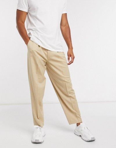Pietra uomo Pantaloni eleganti oversize affusolati grigio pietra - ASOS DESIGN