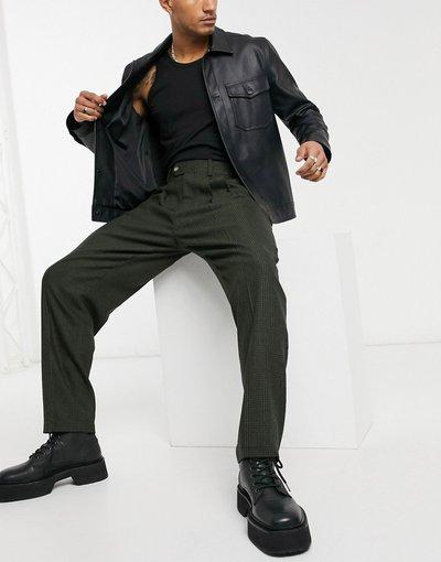 Verde uomo Pantaloni eleganti slim a vita alta in misto lana a quadri tono su tono - ASOS DESIGN - Verde
