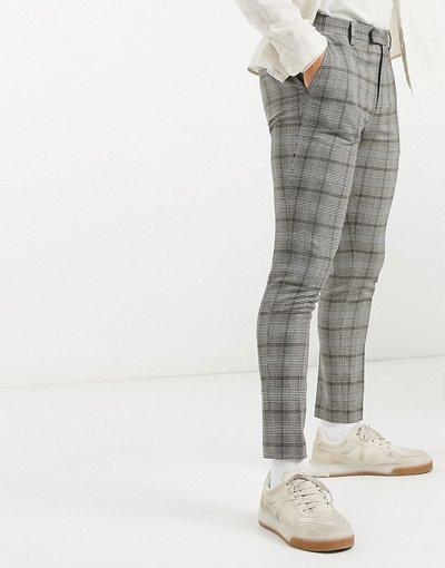 Nero uomo Pantaloni eleganti super skinny a quadri - ASOS DESIGN - Nero