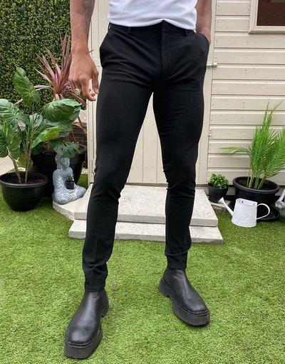 Nero uomo Pantaloni eleganti super skinny con fondo stile joggers neri - ASOS DESIGN - Nero
