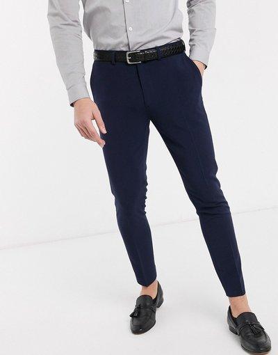 Navy uomo Pantaloni eleganti super skinny cropped blu navy - ASOS DESIGN