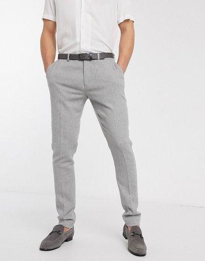 Grigio uomo Pantaloni eleganti super skinny grigio chiaro pied de poule - ASOS DESIGN