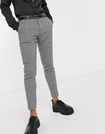 Nero uomo Pantaloni eleganti super skinny monocromatici pied de poule - ASOS DESIGN - Nero