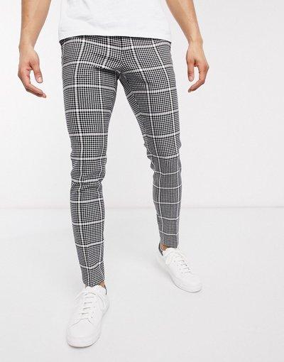 Nero uomo Pantaloni eleganti super skinny neri a quadri in misto lana con regolazioni laterali - ASOS DESIGN - Nero