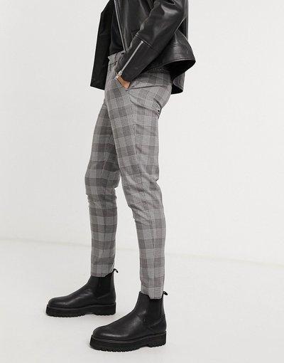 Nero uomo Pantaloni eleganti super skinny neri a quadri Principe di Galles - ASOS DESIGN - Nero